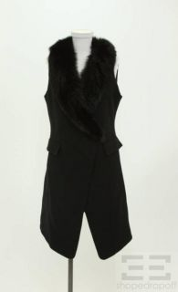 Lafayette 148 Black Wool Fox Fur Trim Sleeveless Coat Size 6