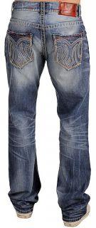 MEK Denim Mens Pushkar Jeans Straight New Medium Blue 29 x 34
