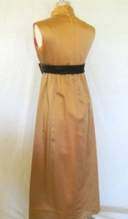 Vtg 50s 60s Satin Copper Holiday Empire Cocktail Gown Wedding Party