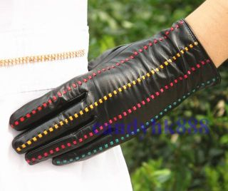 Women Black Deluxe Fashion Genuine Lamb Leather Wrist Gloves 4 Lines