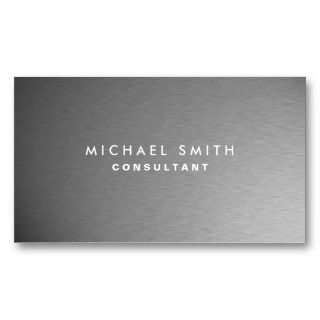 Silver Professional Metal Elegant Modern Plain Business Card Template
