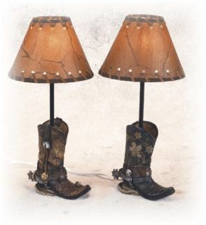 inch Brown Cowboy Boots Shaped Night Lamp with Stenciled Shade