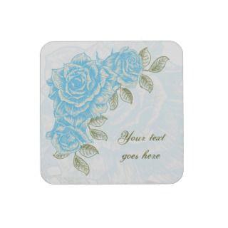 Vintage cyan blue roses floral cork back coaster