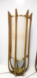 Vintage Danish Modern Eames Era Teak Table Lamps Pair