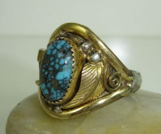 Navajo Ring Lander Blue Turquoise Claw Gold Sterling E Jackson