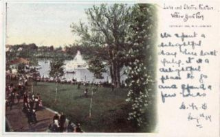 Lake Electric Fountain Willow Grove Park PA Postcard