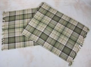 Country Green Brown Tan Plaid Oak Grove Woven Cotton Table Runner