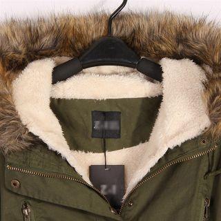 Womens Army Green Winter Coats Hooded Garments Fur Collar Detachable