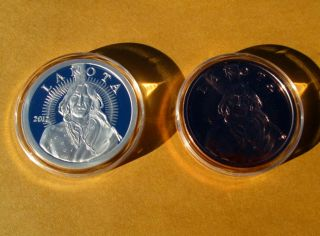ONE OUNCE LAKOTA SIOUX .999 FINE SILVER COIN   PLUS COPPER LAKOTA COIN