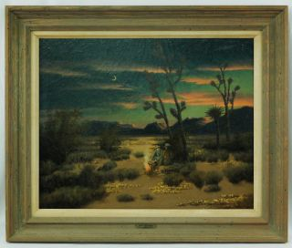 Kruger American Western Oil Landscape Cowboys Campfire Painting