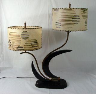 Majestic Double Lamp Black Lacquer Original Fiberglass Shades Mid