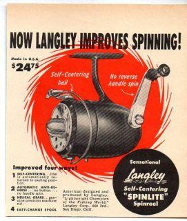 1953 Vintage Ad Langley Spinlite Spinreel Fishing Reels San Diego CA