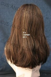 100 Human Hair Brown Gold Mix Wig Wigs Bangs Mola 14BT