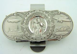 Saint Christopher Land Sea & Air Be My Guide Pewter Protection Auto