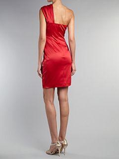Untold One shoulder ruched dress Red