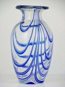 Handcrafted Art Glass Vase w Blue White Swirl Relief
