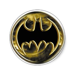 Batman Gold Logo Round Stickers