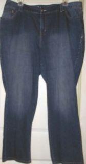 Lane Bryant Distressed Dark Blue Denim Straight Leg Stretch Jeans 24