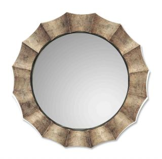 Large Modern Champagne Silver Leaf Round Wall Mirror 41 Contemporary