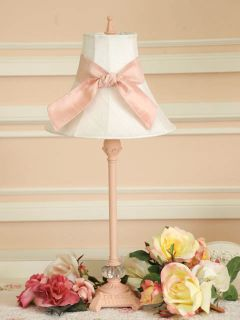 Shabby Pink Chic Table Lamp White Silk Shade Pink Sash