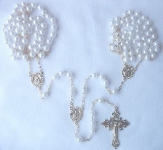 White Glass Pearl Goldtone Catholic Lasso Wedding Rosary New
