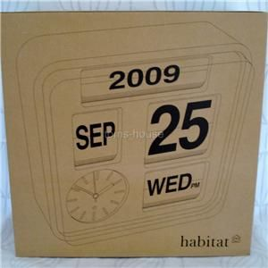Large Habitat Flap Retro Calendar Analogue Wall Clock Day Month Year