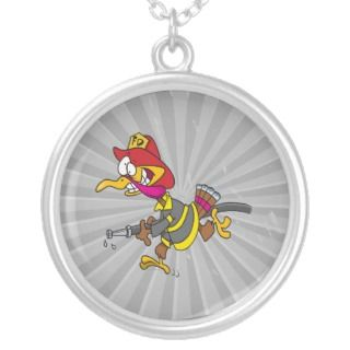 funny firefighter turkey cartoon custom jewelry