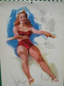 Pinup Girl Rowing Beauty June 1952 Calendar Lapeer Michigan A
