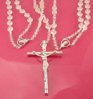 Crystal Glass Wedding Unity Lasso Rosary Silver Cross New