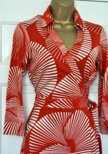 DVF Diane Von Furstenberg Orange Sundial Large Short Wrap Belt Dress