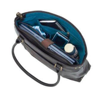 Brown Leather Tote Bag 15 4 Laptop Case Top Zipper Closure