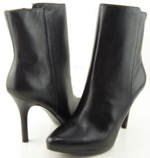 Ralph Lauren Larissa Black Leather Womens Designer Shoes Ankle Boots 6