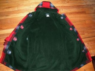 Womens Petite Ralph Lauren Plaid Toggle Coat Jacket Red Wool Fleece