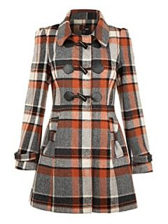Yumi Check duffle coat Pink