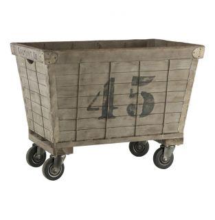 Industrial Loft Aged Wood Laundry Cart