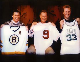 Larry Bird Ted Williams Orr Boston Super Stars Photo REDUCED
