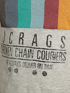JC Rags Rainbow print Crew neck T shirt Grey Marl
