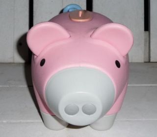 Classic Piggy Bank PINK Plastic Coin Money Pig Childrens Toy LARGE