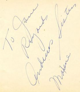 Andrews Sisters Laverne Patty Maxene Vintage 1930s Signed Album Page