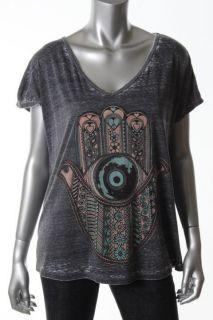 Lauren Moshi New Black Graphic Oversized Short Sleeve V Neck Casual