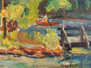 Antique Benjamin Lassen O C Lake Landscape Painting w Gazebo Canoe
