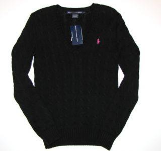 Ralph Lauren Womens Sweater L Large Black V Neck Cotton Pink Pony New
