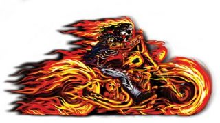 Flaming Motorcycle Hot Leathers Sticker Vinyl Decal