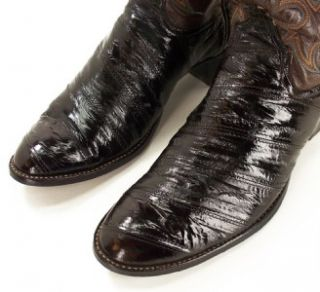 018M Mens Larry Mahan USA Dark Brown Real Eel Embroidered Cowboy Boots