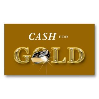Cash for Gold Jewelry business cards wih sparkling ring in gold and