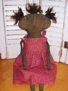 Primitive Grungy Black Folk Art Valentines Doll Lavina Pink