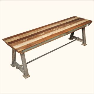 Teak Wood Industrial Wrought Iron Bench Outdoor Patio Furniture
