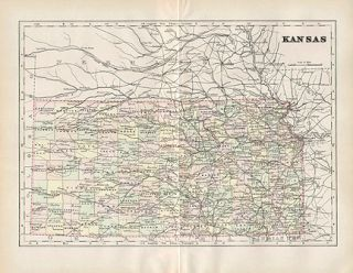 Kansas Authentic Antique Map wth COA Genuine 110 Years Old Made in