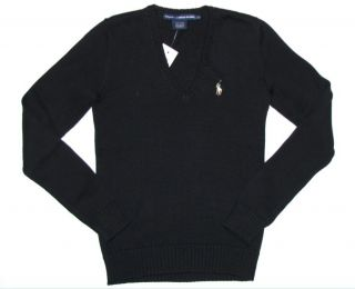 Polo Ralph Lauren Womens Sweater XS x Small Black Cotton Pony V Neck
