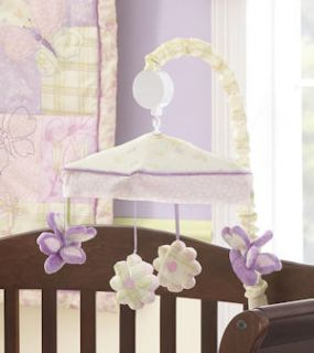 Laura Ashley Sweet Violet 10 Piece Girls Purple Crib Bed Set Mobile